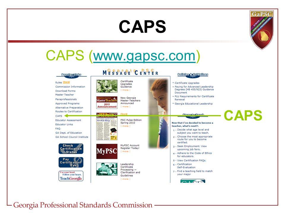 CAPS (www.gapsc.com)www.gapsc.com CAPS