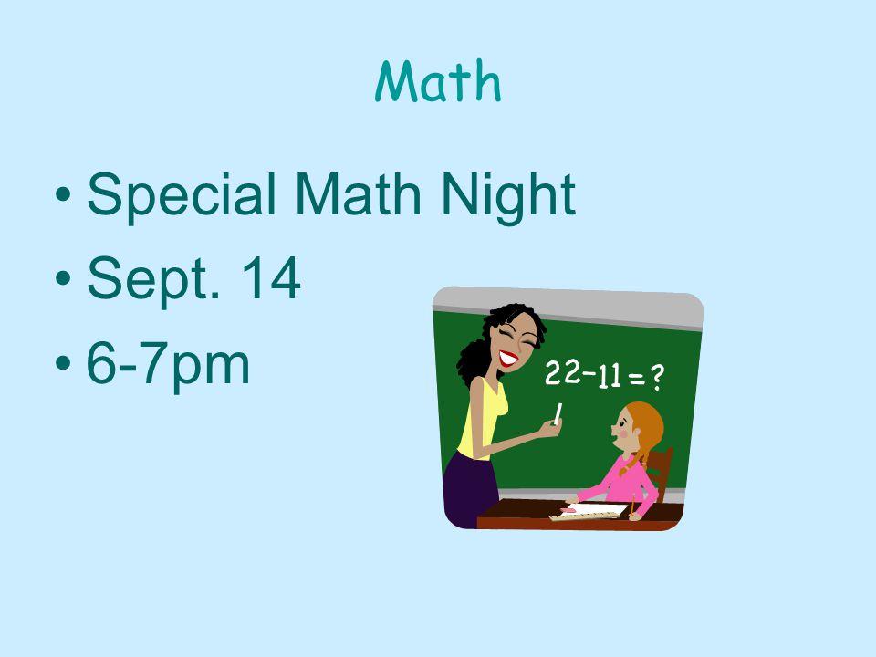 Math Special Math Night Sept. 14 6-7pm