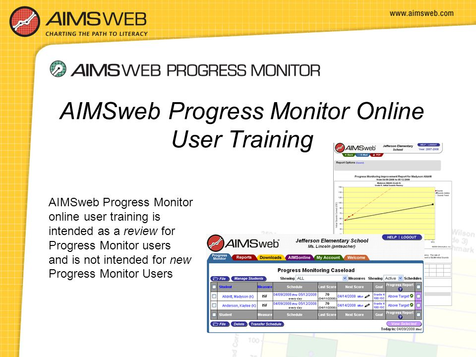 AIMSweb Progress Monitor online user training is intended as a review for Progress Monitor users and is not intended for new Progress Monitor Users AI