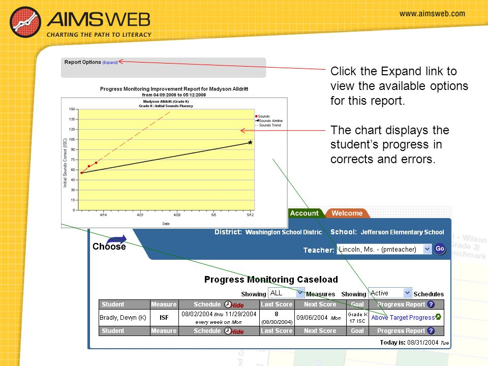 Click the Expand link to view the available options for this report. The chart displays the student's progress in corrects and errors.