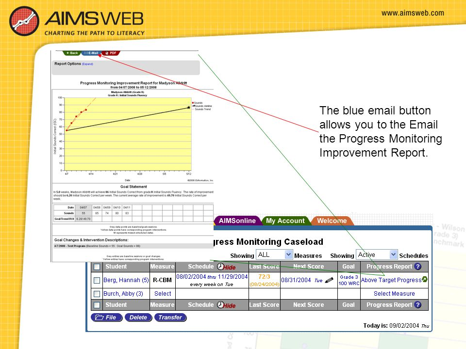 The blue email button allows you to the Email the Progress Monitoring Improvement Report.
