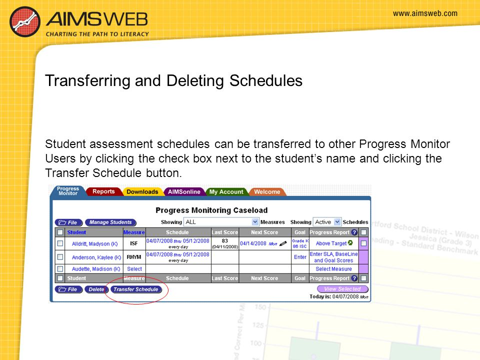 Transferring and Deleting Schedules Student assessment schedules can be transferred to other Progress Monitor Users by clicking the check box next to