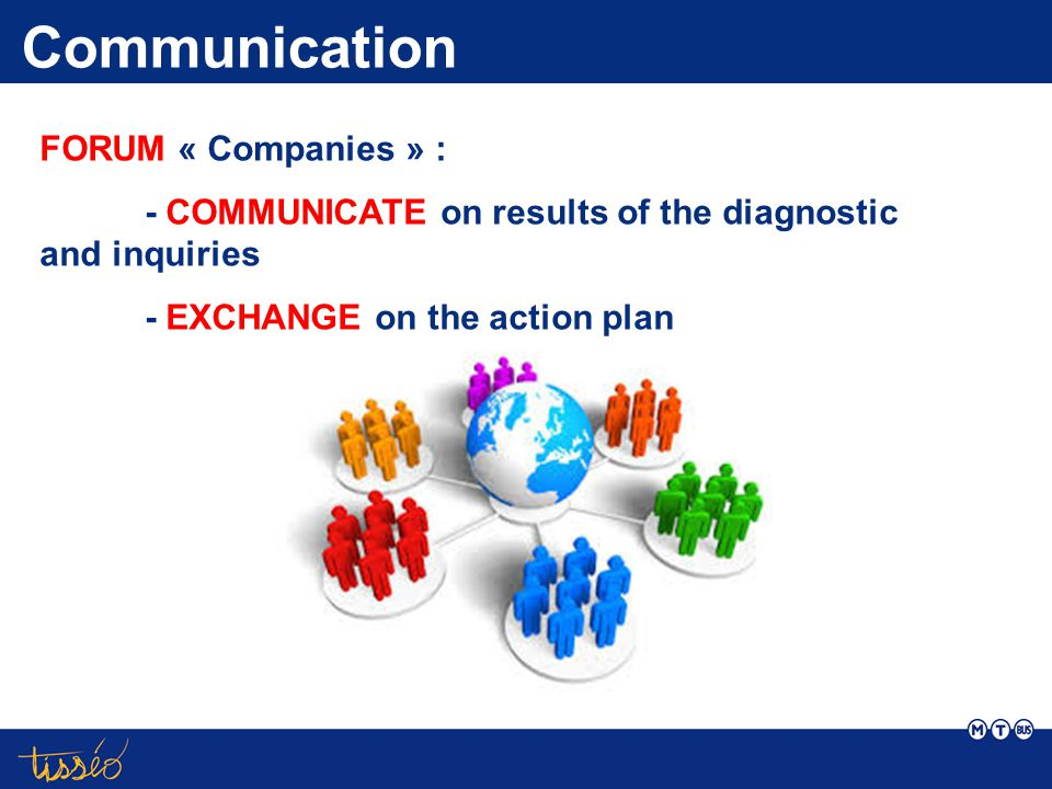 Communication FORUM « Companies » : - COMMUNICATE on results of the diagnostic and inquiries - EXCHANGE on the action plan