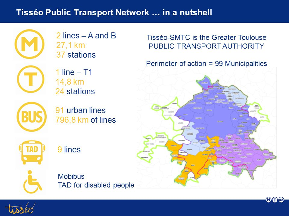 Mobility services proposed by Tisséo-SMTC Alternatives to individual cars carpooling Web Site covoiturage.tisseo.fr 280 locked slots11 P&R 6900 parking slots Mobility advise for Businesses 135 businesses and administration implementing a WMP Mobility Agency Support to urban mobility awareness