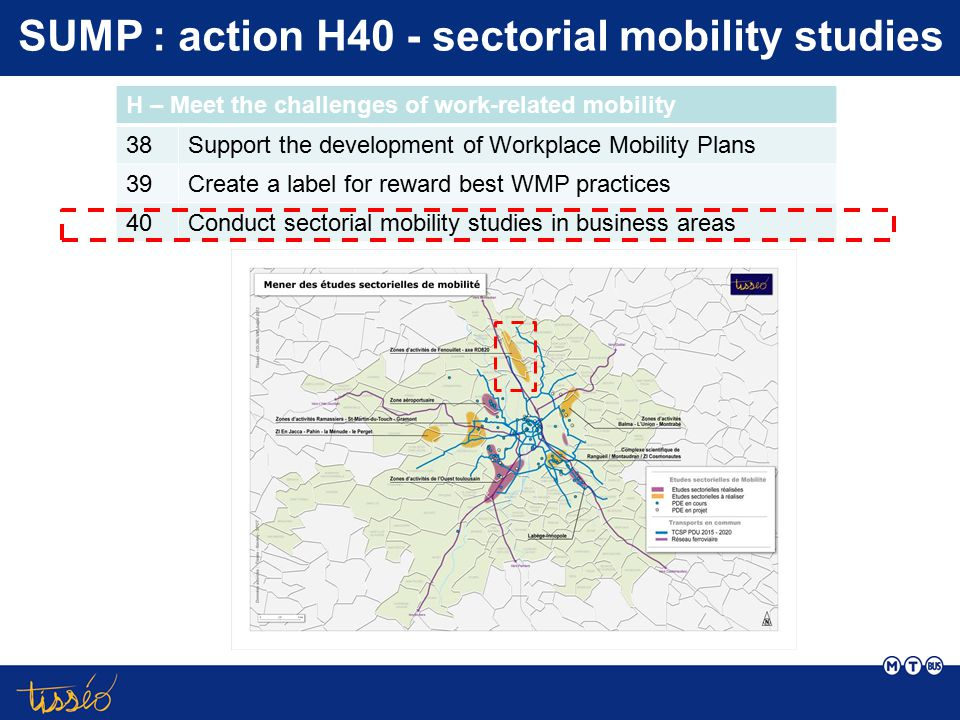SUMP : action H40 - sectorial mobility studies H – Meet the challenges of work-related mobility 38Support the development of Workplace Mobility Plans 39Create a label for reward best WMP practices 40Conduct sectorial mobility studies in business areas