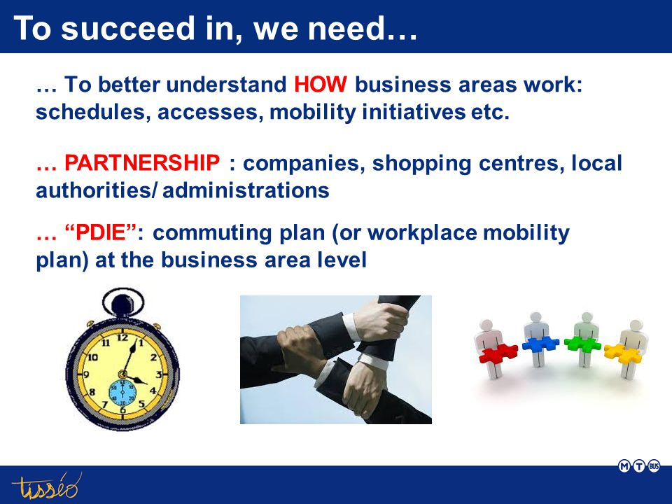 … To better understand HOW business areas work: schedules, accesses, mobility initiatives etc.
