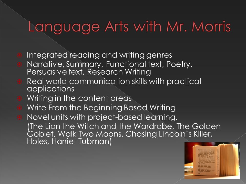  Integrated reading and writing genres  Narrative, Summary, Functional text, Poetry, Persuasive text, Research Writing  Real world communication skills with practical applications  Writing in the content areas  Write From the Beginning Based Writing  Novel units with project-based learning.