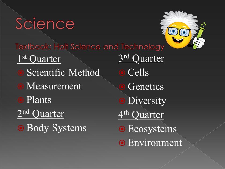 1 st Quarter  Scientific Method  Measurement  Plants 2 nd Quarter  Body Systems 3 rd Quarter  Cells  Genetics  Diversity 4 th Quarter  Ecosyst