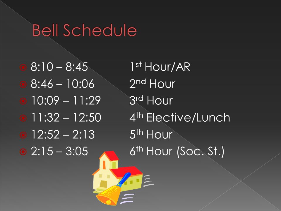  8:10 – 8:45 1 st Hour/AR  8:46 – 10:062 nd Hour  10:09 – 11:293 rd Hour  11:32 – 12:504 th Elective/Lunch  12:52 – 2:135 th Hour  2:15 – 3:056 th Hour (Soc.
