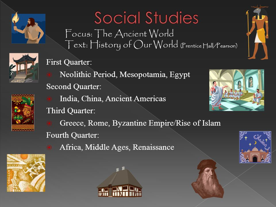 First Quarter:  Neolithic Period, Mesopotamia, Egypt Second Quarter:  India, China, Ancient Americas Third Quarter:  Greece, Rome, Byzantine Empire/Rise of Islam Fourth Quarter:  Africa, Middle Ages, Renaissance Focus: The Ancient World Text: History of Our World (Prentice Hall/Pearson)