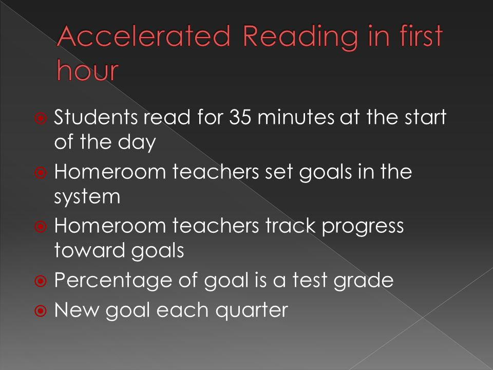  Students read for 35 minutes at the start of the day  Homeroom teachers set goals in the system  Homeroom teachers track progress toward goals  Percentage of goal is a test grade  New goal each quarter