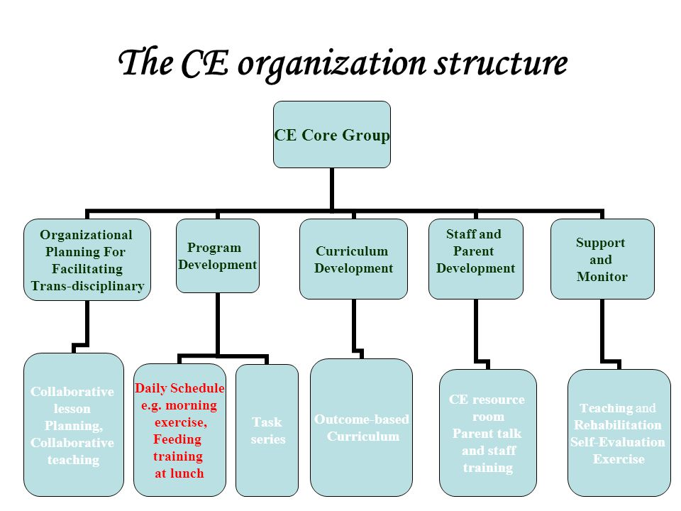The CE organization structure CE Core Group Organizational Planning For Facilitating Trans-disciplinary Collaborative lesson Planning, Collaborative t