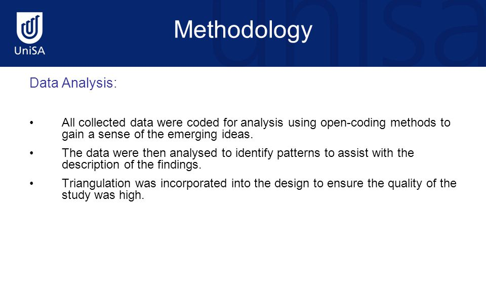 Methodology Data Analysis: All collected data were coded for analysis using open-coding methods to gain a sense of the emerging ideas.