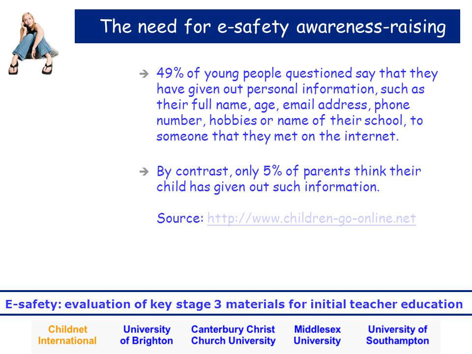 E-safety: evaluation of key stage 3 materials for initial teacher education The need for e-safety awareness-raising  49% of young people questioned say that they have given out personal information, such as their full name, age, email address, phone number, hobbies or name of their school, to someone that they met on the internet.