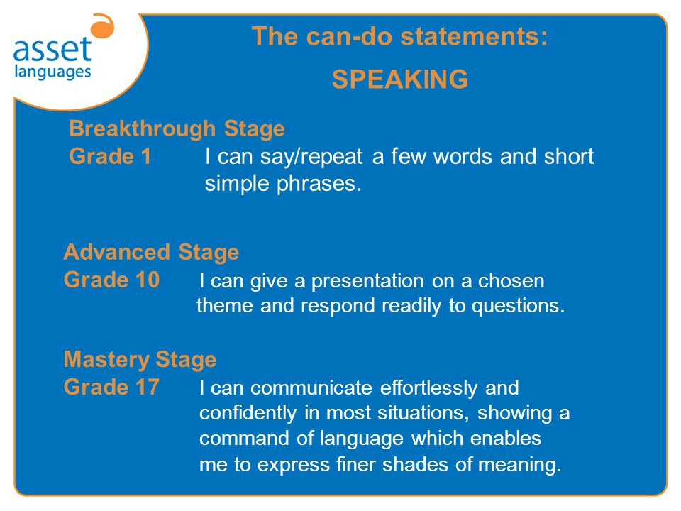 The can-do statements: SPEAKING Breakthrough Stage Grade 1I can say/repeat a few words and short simple phrases.