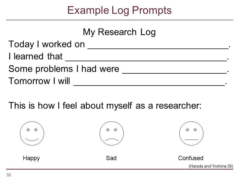 32 Example Log Prompts My Research Log Today I worked on ___________________________. I learned that _______________________________. Some problems I