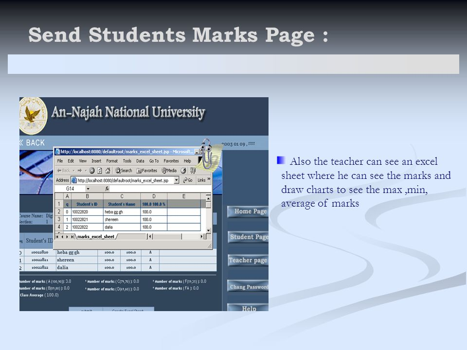 Send Students Marks Page : Also the teacher can see an excel sheet where he can see the marks and draw charts to see the max,min, average of marks