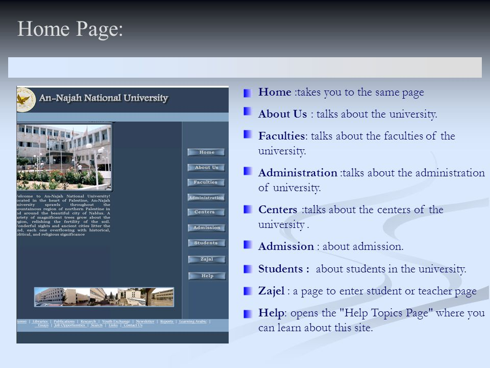 Home Page: Home :takes you to the same page About Us : talks about the university. Faculties: talks about the faculties of the university. Administrat