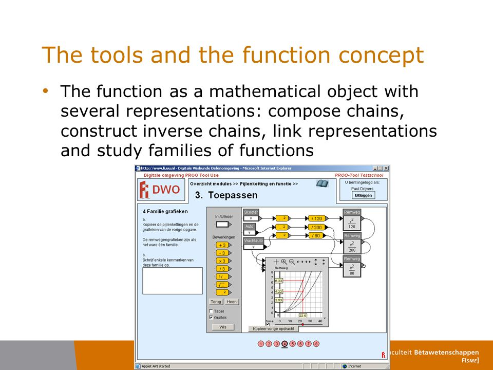 The tools and the function concept The function as a mathematical object with several representations: compose chains, construct inverse chains, link representations and study families of functions
