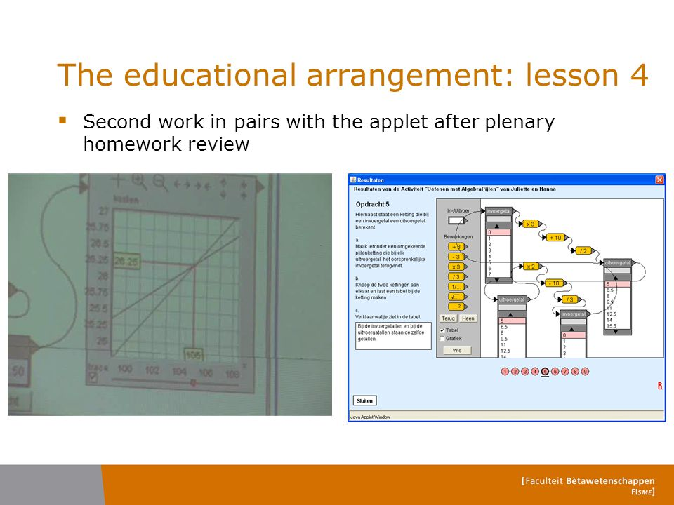 The educational arrangement: lesson 4  Second work in pairs with the applet after plenary homework review