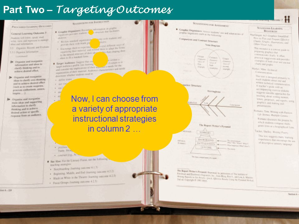 Now, I can choose from a variety of appropriate instructional strategies in column 2 … Part Two – Targeting Outcomes