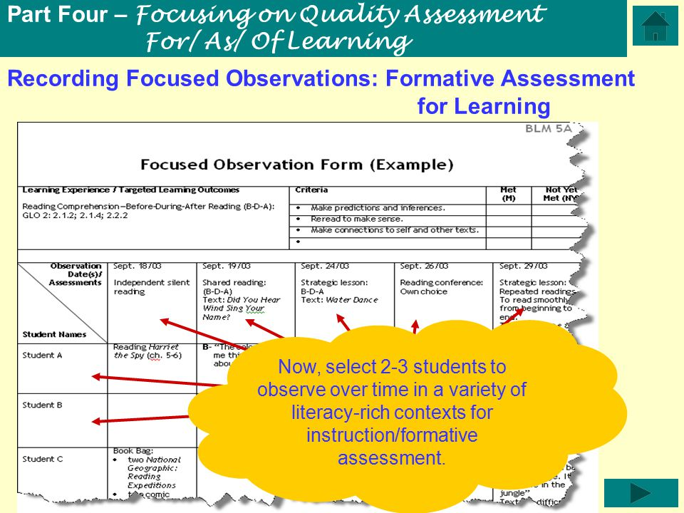 Recording Focused Observations: Formative Assessment for Learning Part Four – Focusing on Quality Assessment For/ As/ Of Learning Now, select 2-3 students to observe over time in a variety of literacy-rich contexts for instruction/formative assessment.