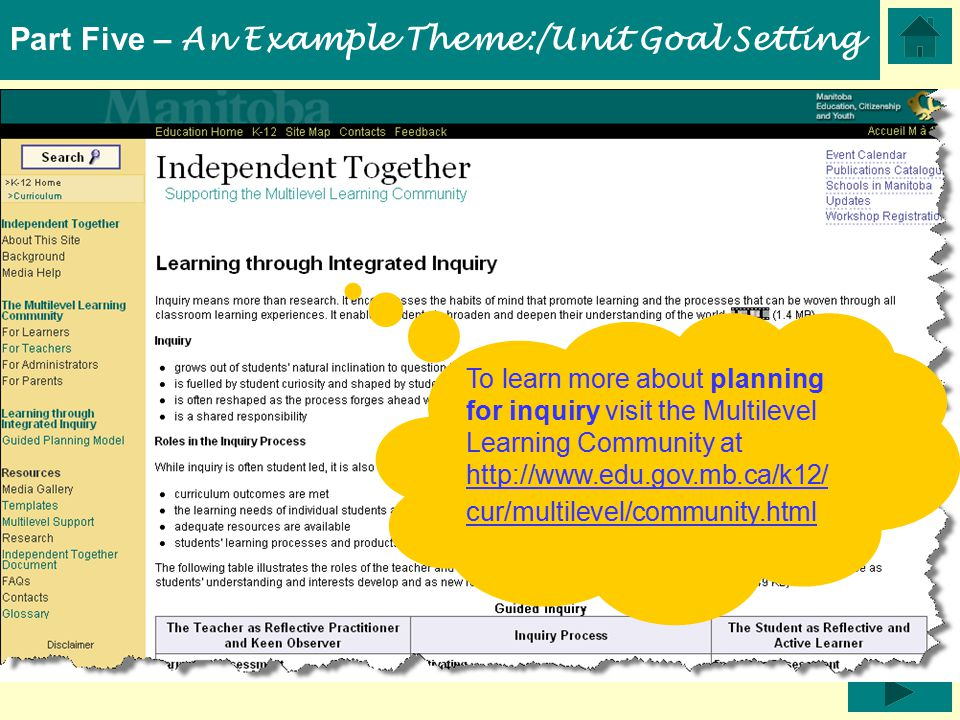 To learn more about planning for inquiry visit the Multilevel Learning Community at http://www.edu.gov.mb.ca/k12/ cur/multilevel/community.html http://www.edu.gov.mb.ca/k12/ cur/multilevel/community.html Part Five – An Example Theme:/Unit Goal Setting