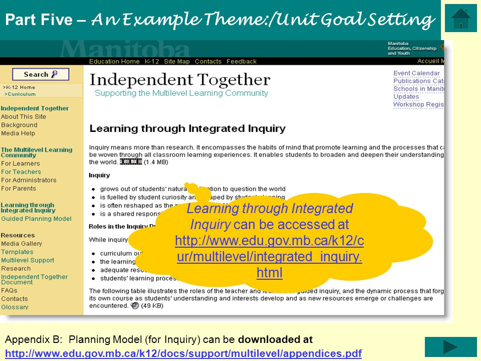 Part Five – An Example Theme:/Unit Goal Setting Learning through Integrated Inquiry can be accessed at http://www.edu.gov.mb.ca/k12/c ur/multilevel/integrated_inquiry.