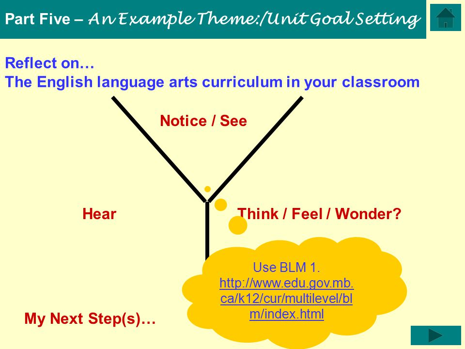 Reflect on… The English language arts curriculum in your classroom Hear Notice / See Think / Feel / Wonder.