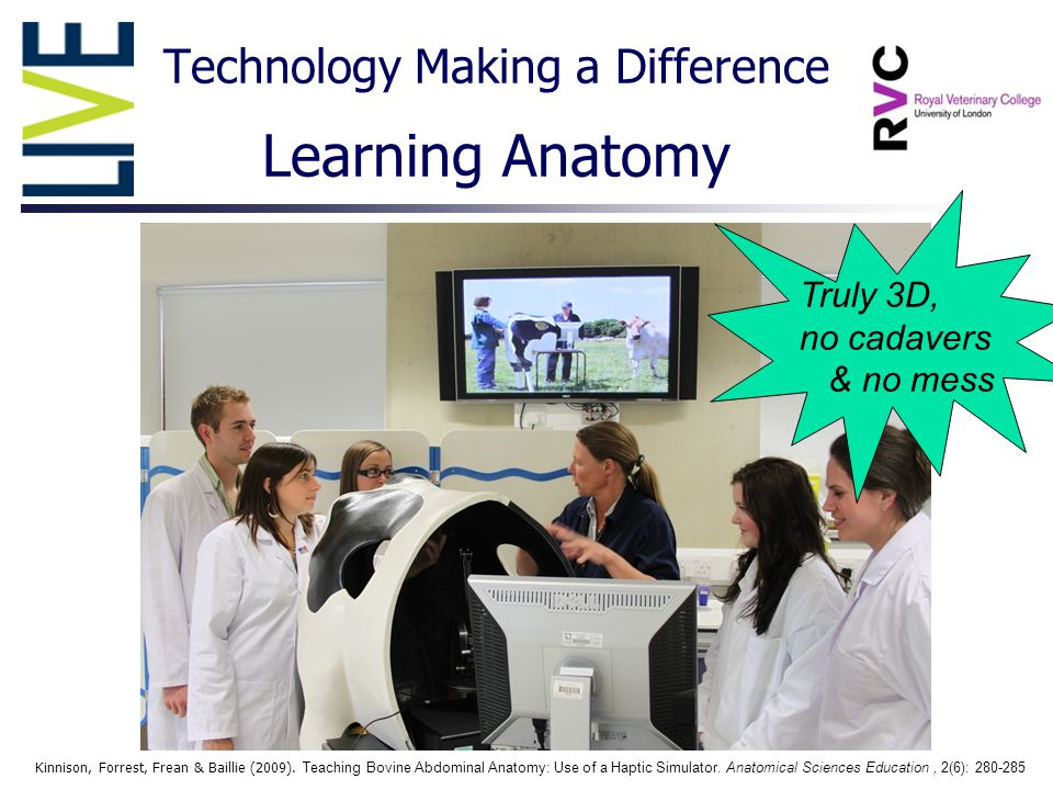 Technology Making a Difference Learning Anatomy Kinnison, Forrest, Frean & Baillie (2009).
