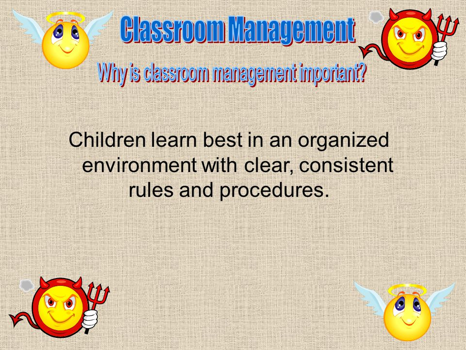 Children learn best in an organized environment with clear, consistent rules and procedures.