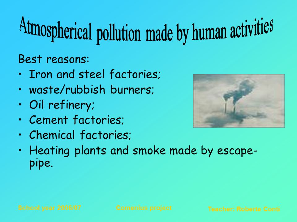 Teacher: Roberta Conti School year 2006/07Comenius project It is up to the diffusion of ashes or gases produced by volcans and fires; Most dangerous gases are: clorhydric acid, sulphurouse anhydride and carbon bioxid.