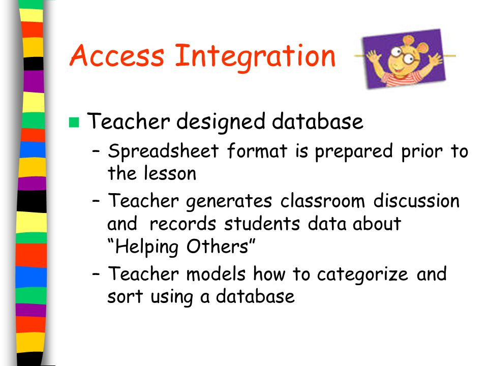 Access Integration Teacher designed database –Spreadsheet format is prepared prior to the lesson –Teacher generates classroom discussion and records s