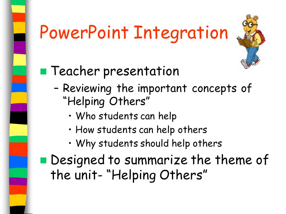 """PowerPoint Integration Teacher presentation –Reviewing the important concepts of """"Helping Others"""" Who students can help How students can help others W"""