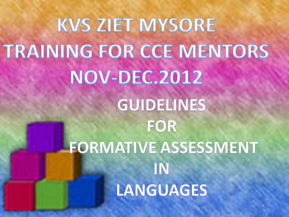 1.GENERAL INFORMATION 2.LANGUAGE LEARNING AND ASSESSMENT 3.COMPETENCIES IN LANGUAGE LEARNING 4.KVS GUIDELINES 5.INDICATORS OF ASSESSMENT 6.BLUEPRINT OF ASSESSMENT 7.CCE PLAN OF ACTIVITIES 8.FORMAT FOR ASSESSMENT IN CLASSROOM- TEACHER RECORD 8.