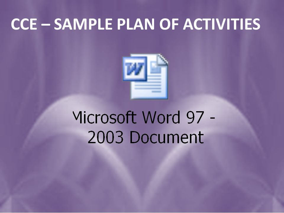 CCE – SAMPLE PLAN OF ACTIVITIES