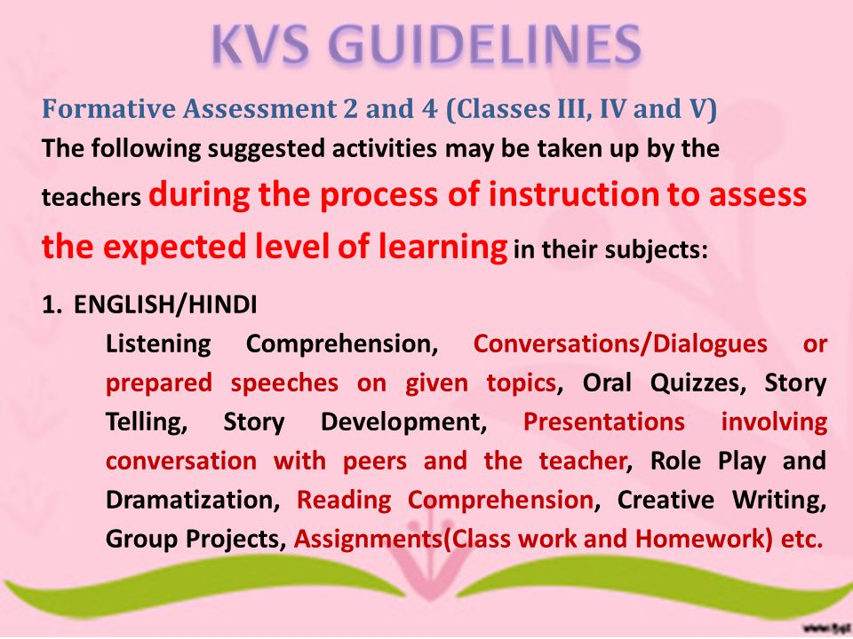 4.All computation of grades, analysis and abstract can be done using the recommended software 5.Evidence of Assessment is maintained by- Index entries in Classwork, Worksheet Folders and Portfolios Samples of products/artifacts of student works in student Portfolios Notes on performances such as role play, narrations, multimedia, etc SUMMARY contd
