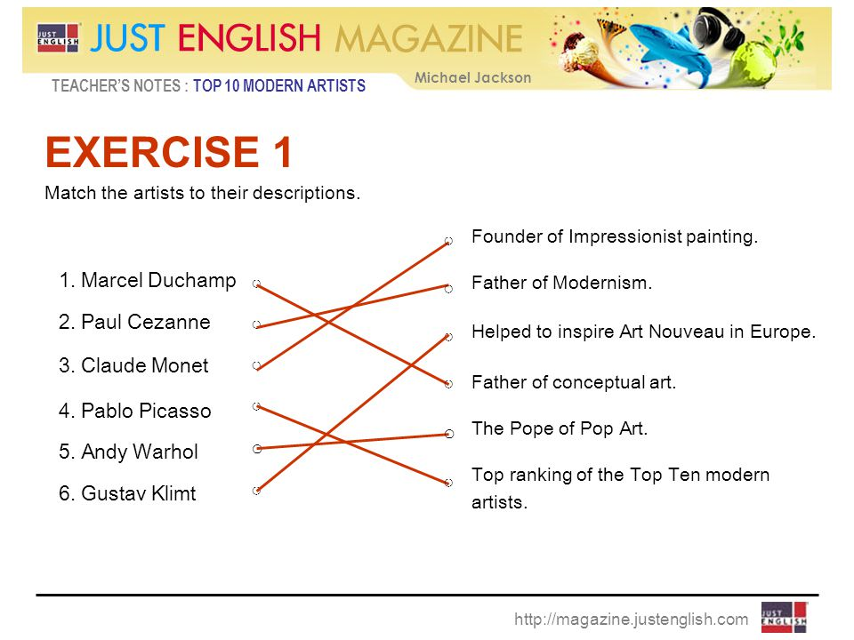 TEACHER'S NOTES : TOP 10 MODERN ARTISTS Michael Jackson http://magazine.justenglish.com EXERCISE 1 Match the artists to their descriptions.