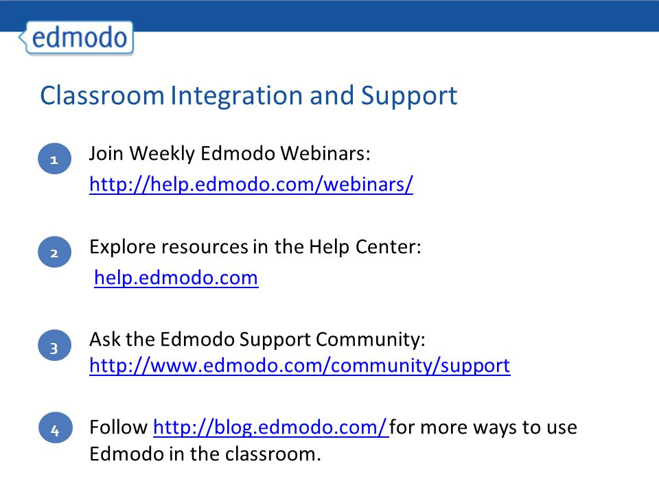 Join Weekly Edmodo Webinars: http://help.edmodo.com/webinars/ Explore resources in the Help Center: help.edmodo.com Ask the Edmodo Support Community: http://www.edmodo.com/community/support http://www.edmodo.com/community/support Follow http://blog.edmodo.com/ for more ways to use Edmodo in the classroom.http://blog.edmodo.com/ 1 2 3 Classroom Integration and Support 4
