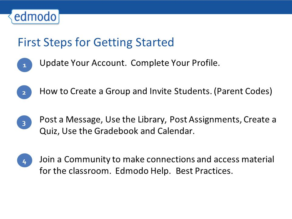 Update Your Account. Complete Your Profile. How to Create a Group and Invite Students.