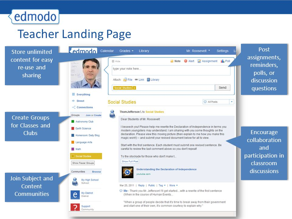Mobile Access Get updates and notifications on the go with our mobile app available for: −iPhone/ iPod/ iPad −Android devices Access Edmodo on any mobile browser at m.edmodo.com