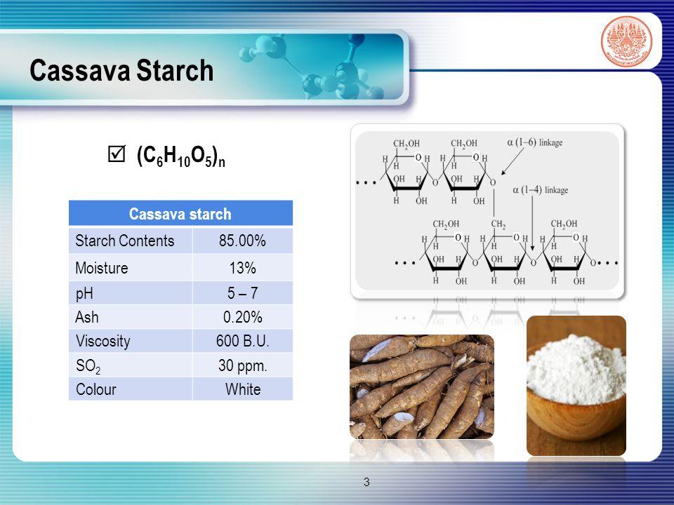 Cassava Starch 3  (C 6 H 10 O 5 ) n Cassava starch Starch Contents85.00% Moisture13% pH5 – 7 Ash0.20% Viscosity600 B.U.