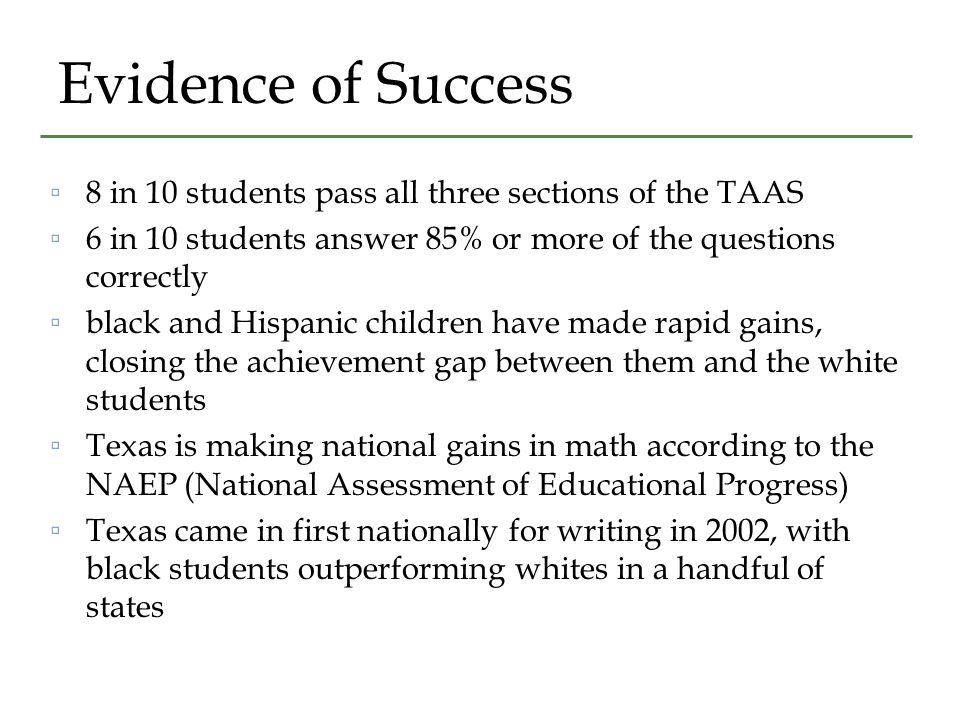 Evidence of Success ▫8 in 10 students pass all three sections of the TAAS ▫6 in 10 students answer 85% or more of the questions correctly ▫black and Hispanic children have made rapid gains, closing the achievement gap between them and the white students ▫Texas is making national gains in math according to the NAEP (National Assessment of Educational Progress) ▫Texas came in first nationally for writing in 2002, with black students outperforming whites in a handful of states