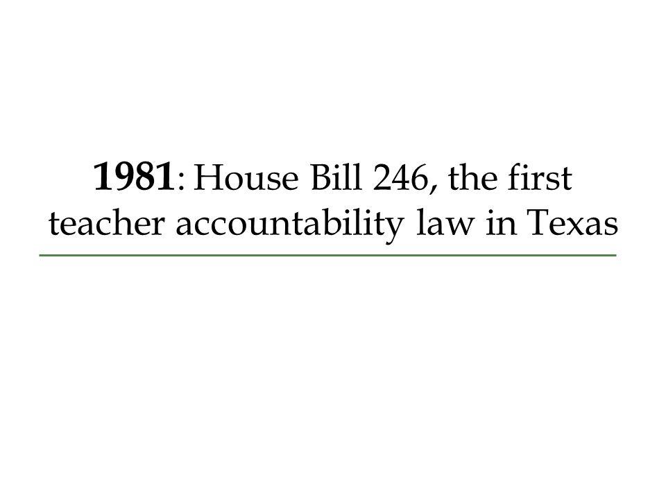 1981 : House Bill 246, the first teacher accountability law in Texas