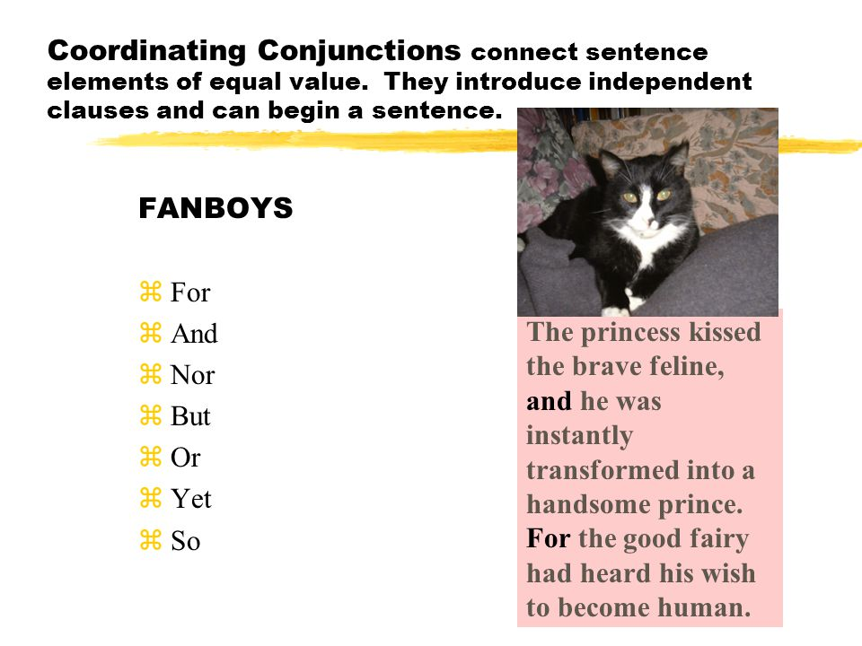 Subordinating Conjunctions connect sentence elements of unequal value.