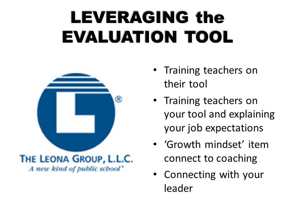LEVERAGING the EVALUATION TOOL Training teachers on their tool Training teachers on your tool and explaining your job expectations 'Growth mindset' it