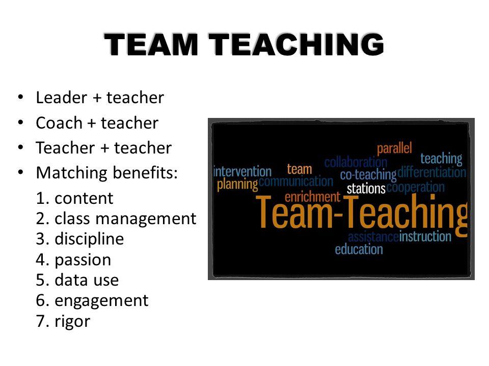 TEAM TEACHING Leader + teacher Coach + teacher Teacher + teacher Matching benefits: 1. content 2. class management 3. discipline 4. passion 5. data us
