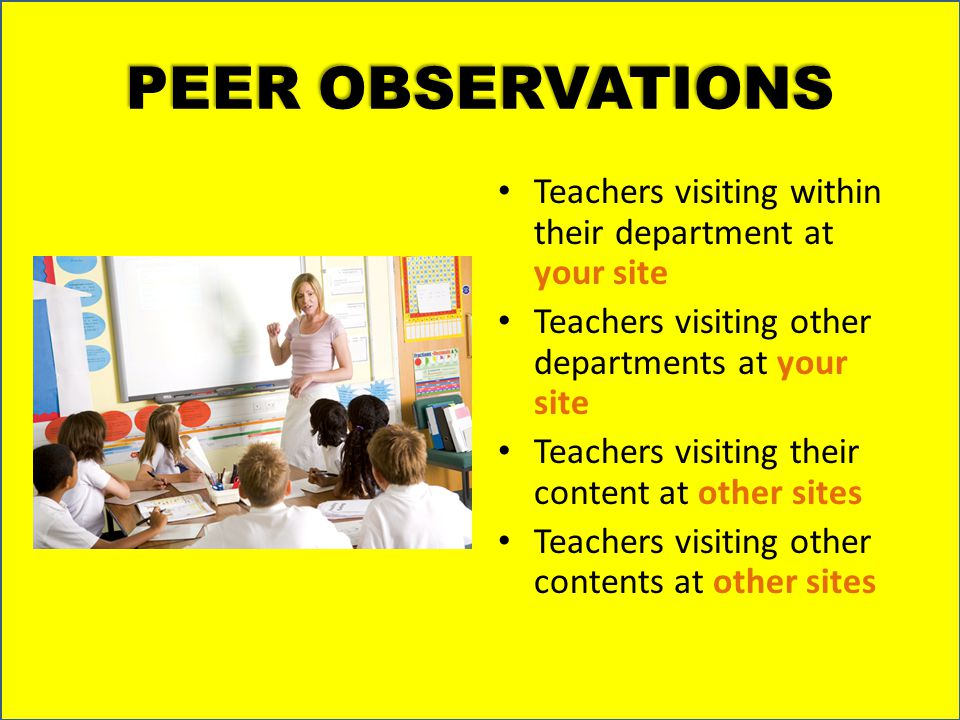 PEER OBSERVATIONS Teachers visiting within their department at your site Teachers visiting other departments at your site Teachers visiting their cont