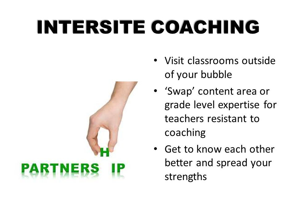 INTERSITE COACHING Visit classrooms outside of your bubble 'Swap' content area or grade level expertise for teachers resistant to coaching Get to know