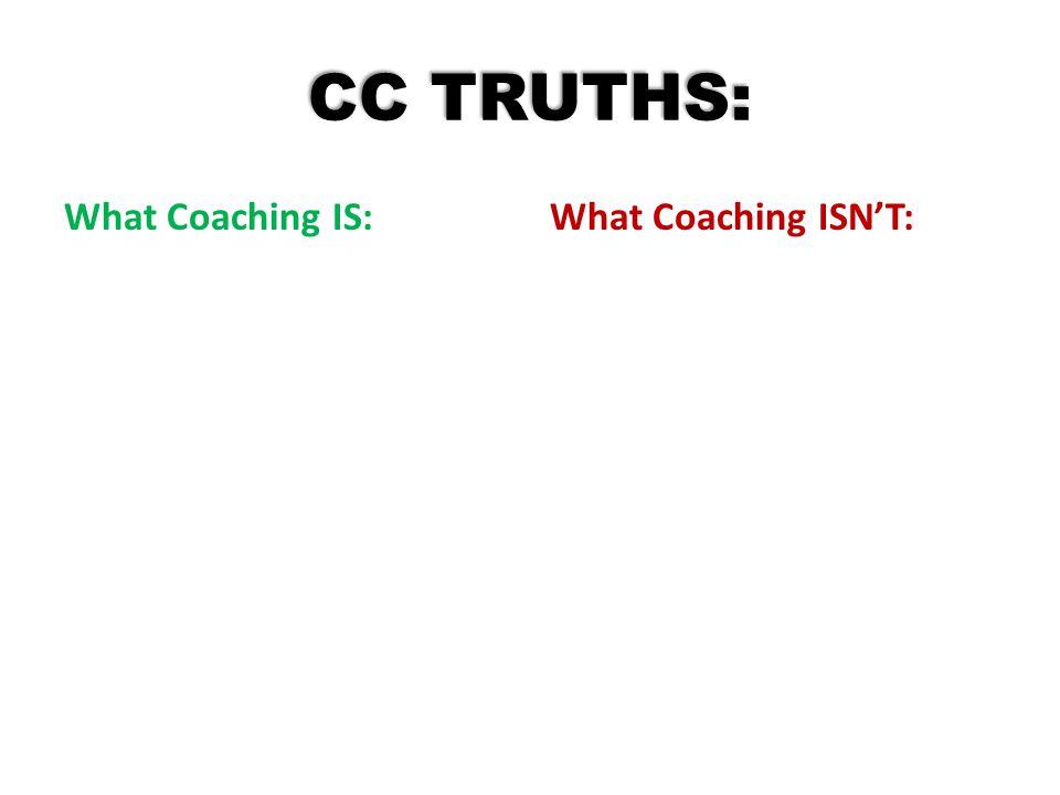 CC TRUTHS: What Coaching IS:What Coaching ISN'T: